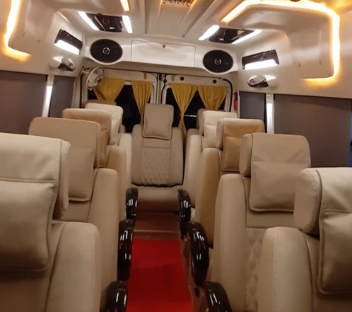 12+1 seater deluxe 1x1 tempo traveller hire in gurgaon